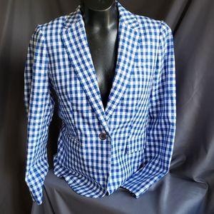J. Crew Plaid Blue White Blazer Jacket Coat Sz. 6